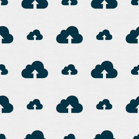 secure backup: Backup icon sign. Seamless pattern with geometric texture.