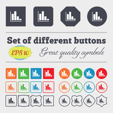 economic forecast: Infographic icon sign. Big set of colorful, diverse, high-quality buttons.