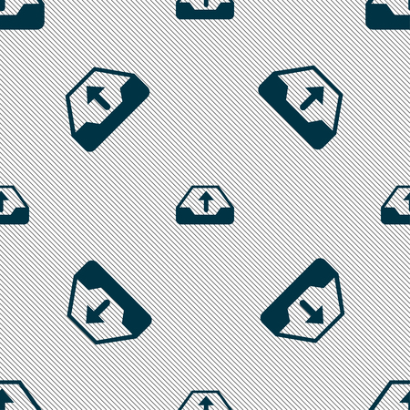 restoring: Backup icon sign. Seamless pattern with geometric texture.