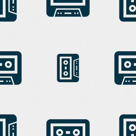 audio cassette: audio cassette icon sign. Seamless pattern with geometric texture.