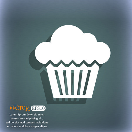 bluegreen: cake icon On the blue-green abstract background with shadow and space for text.