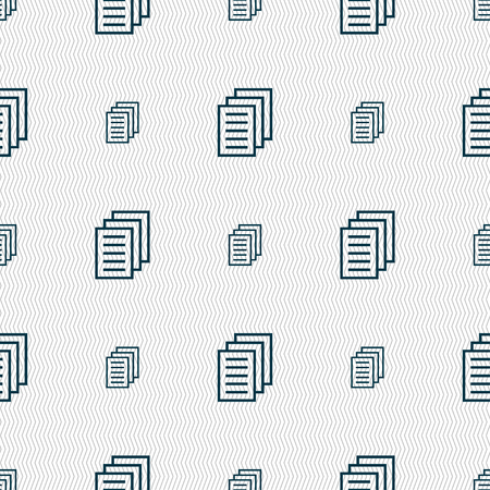 duplicate: Copy file, Duplicate document icon sign. Seamless pattern with geometric texture illustration