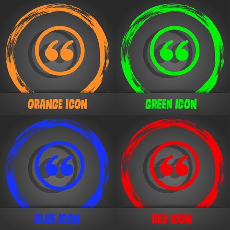 inverted: Double quotes icon. Fashionable modern style In the orange, green, blue, red design. Stock Photo