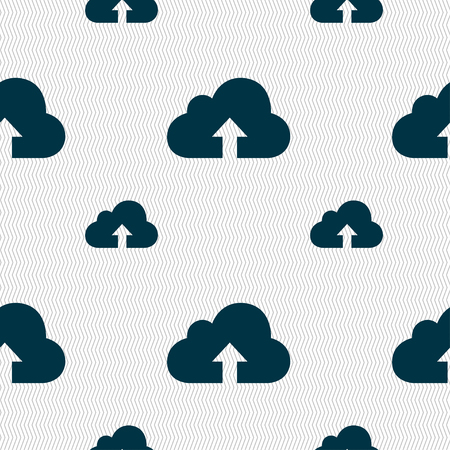 archiving: Backup icon sign. Seamless pattern with geometric texture illustration
