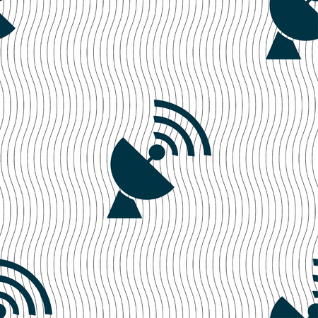 electrical equipment: Satellite antenna icon sign. Seamless pattern with geometric texture illustration