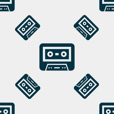 electronic 80s: audio cassette icon sign. Seamless pattern with geometric texture illustration