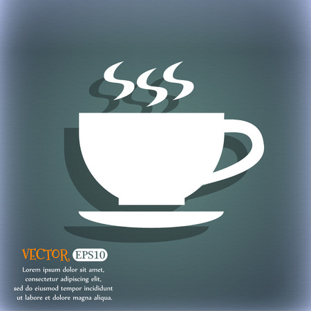 bluegreen: The tea and cup icon On the blue-green abstract background with shadow and space for text.