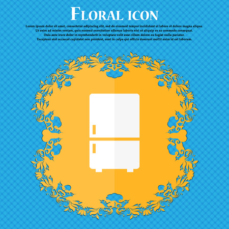 coolness: Refrigerator icon. Floral flat design on a blue abstract background with place for text