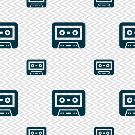 audio cassette: audio cassette icon sign. Seamless pattern with geometric texture illustration