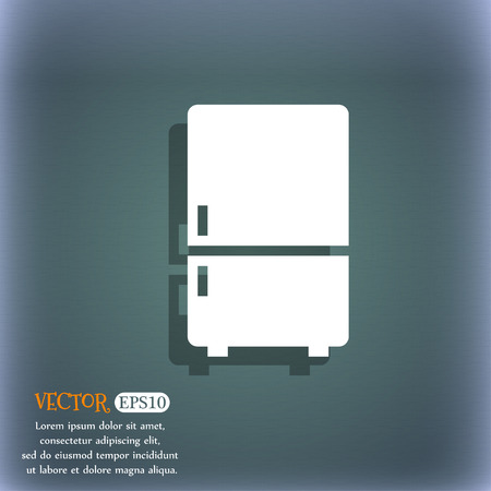 icebox: Refrigerator icon. On the blue-green abstract background with shadow and space for your text. Vector illustration Stock Photo