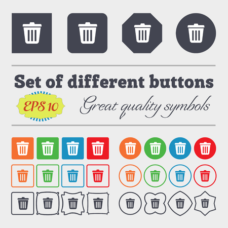 big bin: Bin  icon sign. Big set of colorful, diverse, high-quality buttons. Vector illustration Stock Photo