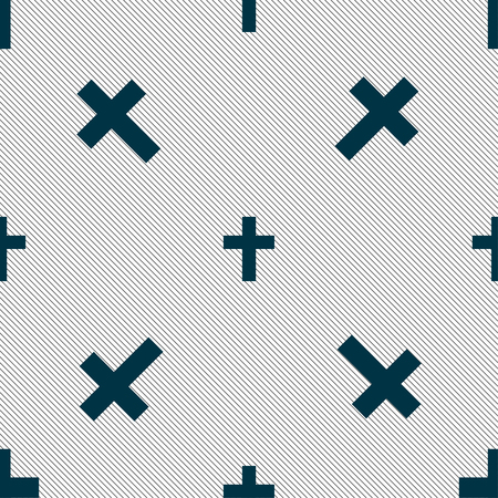 religious cross, Christian icon sign. Seamless pattern with geometric texture. illustration Stock Photo