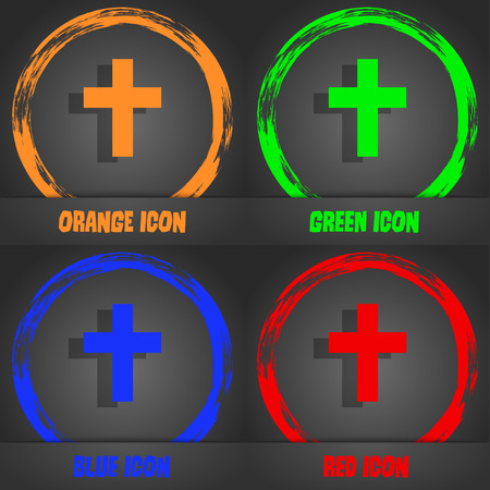 protection of the bible: religious cross, Christian icon. Fashionable modern style. In the orange, green, blue, red design. Vector illustration Stock Photo