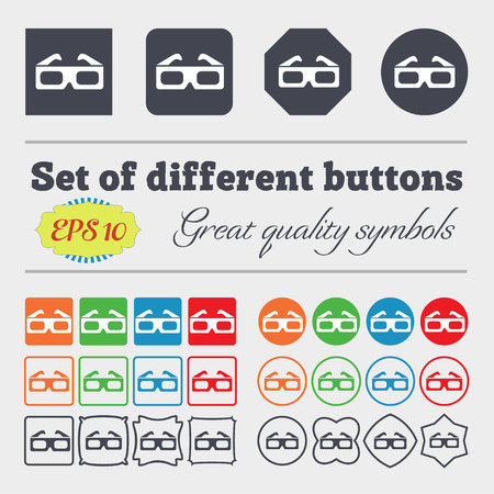 stereoscope: 3d glasses icon sign. Big set of colorful, diverse, high-quality buttons. Vector illustration