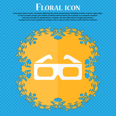 stereoscope: 3d glasses icon. Floral flat design on a blue abstract background with place for your text. Vector illustration
