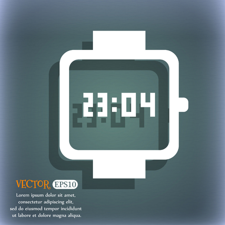 bangles hand: wristwatch icon. On the blue-green abstract background with shadow and space for your text. Vector illustration
