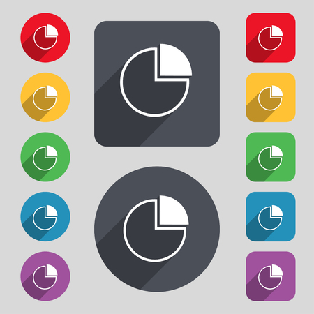 sales trend: Infographic icon sign. A set of 12 colored buttons and a long shadow. Flat design. illustration