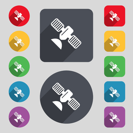 space antenna: satellite icon sign. A set of 12 colored buttons and a long shadow. Flat design. illustration