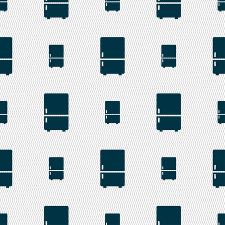 refrigeration: Refrigerator icon sign. Seamless pattern with geometric texture. illustration