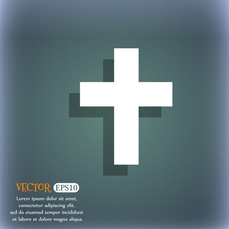protection of the bible: religious cross, Christian icon. On the blue-green abstract background with shadow and space for your text. Vector illustration