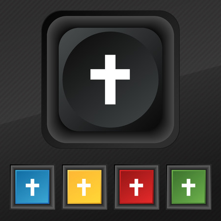 protection of the bible: religious cross, Christian icon symbol. Set of five colorful, stylish buttons on black texture for your design. Vector illustration Stock Photo