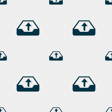 recover: Backup icon sign. Seamless pattern with geometric texture. illustration Stock Photo