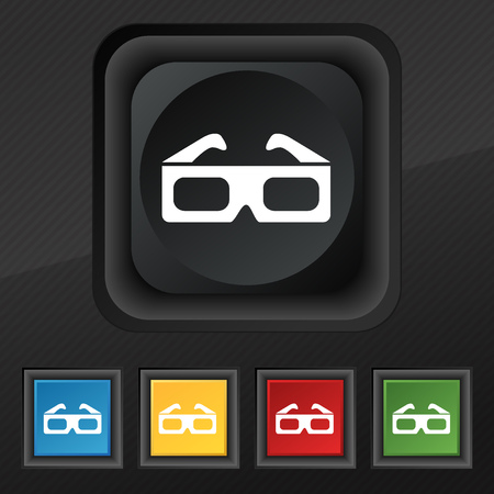 stereoscope: 3d glasses icon symbol. Set of five colorful, stylish buttons on black texture for your design. Vector illustration