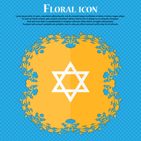blasphemy: pentagram icon. Floral flat design on a blue abstract background with place for your text. Vector illustration