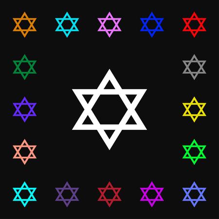 blasphemy: pentagram icon sign. Lots of colorful symbols for your design. Vector illustration