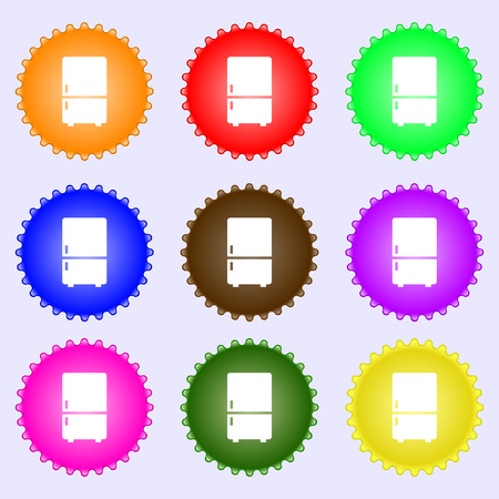 coolness: Refrigerator icon sign. A set of nine different colored labels. illustration