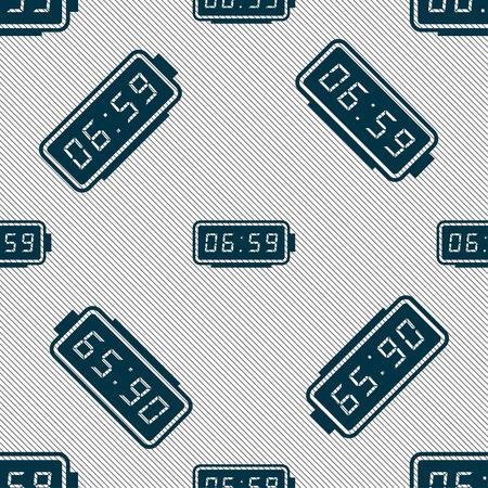 alarm clock icon sign. Seamless pattern with geometric texture. illustration