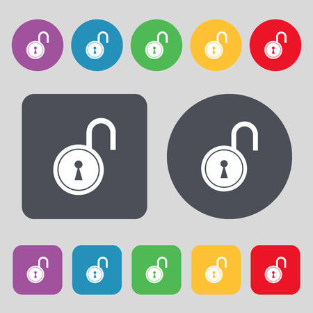 secret codes: open lock icon sign. A set of 12 colored buttons. Flat design. illustration Stock Photo