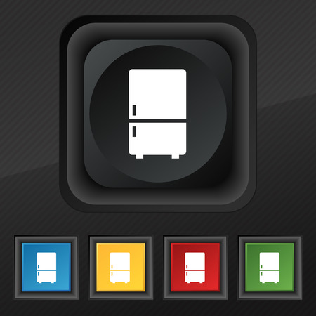icebox: Refrigerator icon symbol. Set of five colorful, stylish buttons on black texture for your design. illustration