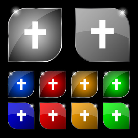 protection of the bible: religious cross, Christian icon sign. Set of ten colorful buttons with glare. illustration