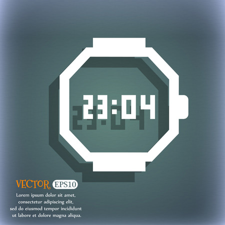 bluegreen: wristwatch icon. On the blue-green abstract background with shadow and space for your text. Vector illustration