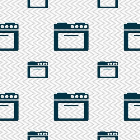 kitchen stove: kitchen stove icon sign. Seamless pattern with geometric texture. illustration Stock Photo