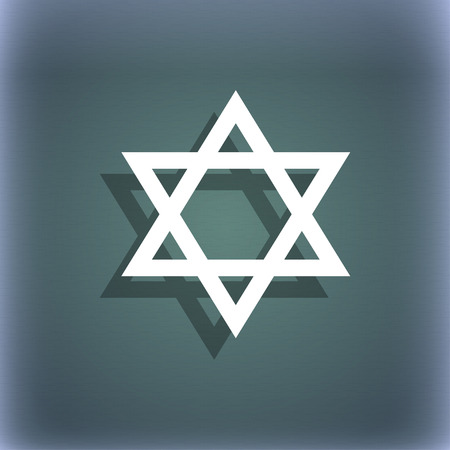 blasphemy: pentagram icon. On the blue-green abstract background with shadow and space for your text. illustration