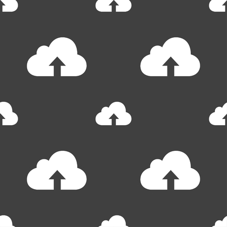 secure backup: Backup icon sign. Seamless pattern on a gray background. illustration