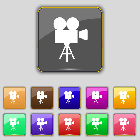 eleven: Video camera icon sign. Set with eleven colored buttons for your site. illustration