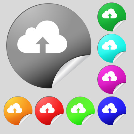archiving: Backup icon sign. Set of eight multi colored round buttons, stickers. illustration Stock Photo