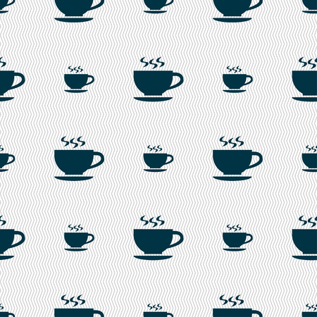 dine: The tea and cup icon sign. Seamless pattern with geometric texture. illustration