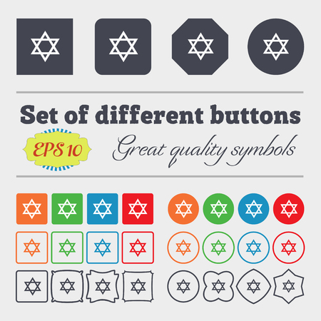 heretic: pentagram icon sign. Big set of colorful, diverse, high-quality buttons. Vector illustration Stock Photo
