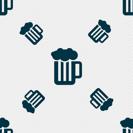 unbottled: Glass of beer with foam icon sign. Seamless pattern with geometric texture. illustration Stock Photo