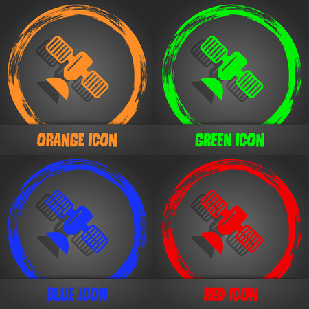space antenna: satellite icon. Fashionable modern style. In the orange, green, blue, red design. Vector illustration