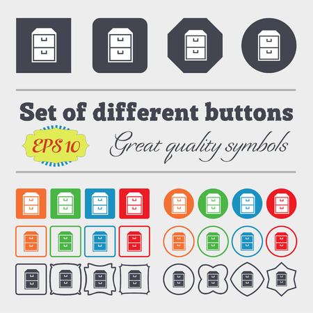 nightstand: nightstand icon sign. Big set of colorful, diverse, high-quality buttons. Vector illustration