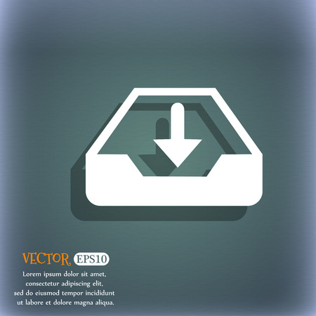 recover: Restore icon. On the blue-green abstract background with shadow and space for your text. Vector illustration