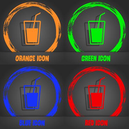 Icône de boisson gazeuse. Style moderne à la mode. Dans le design orange, vert, bleu, rouge. illustration