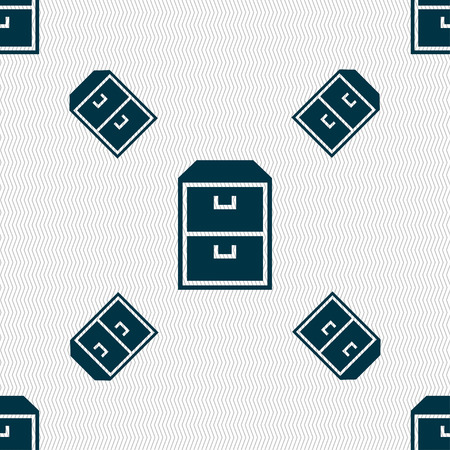nightstand: nightstand icon sign. Seamless pattern with geometric texture. illustration