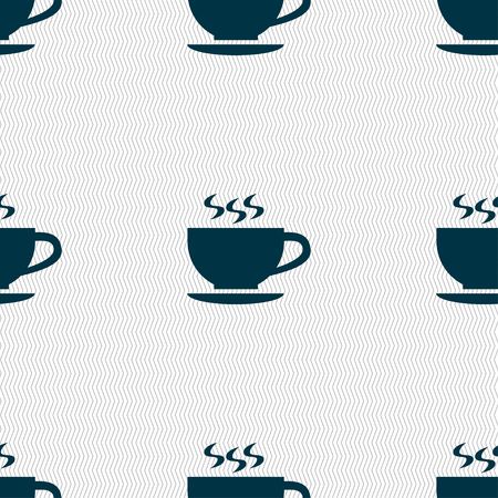 The tea and cup icon sign. Seamless pattern with geometric texture. illustration