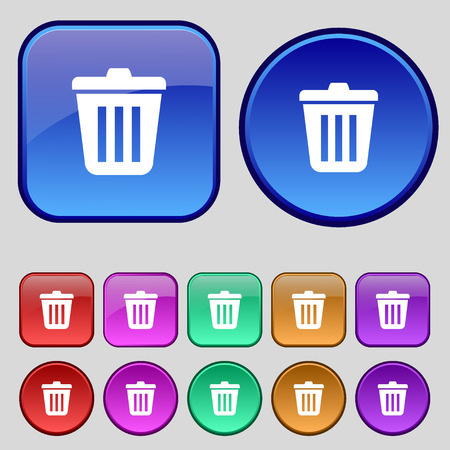 sewage: Bin icon sign. A set of twelve vintage buttons for your design. illustration Stock Photo